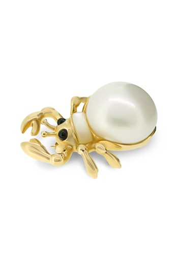 Jemocracy white and gold JEMOCRACY - Who's Who: Hermit Crab - 14k gold and pearl brooch F01F9AC753E6C3GS_1
