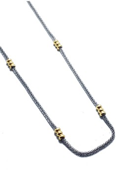 Stainless Steel Barrel Bead Mesh Chain Necklace
