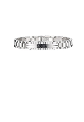 Glamorousky silver Fashion Personality Geometric Black Lattice Chain 316L Stainless Steel Bracelet C9B61AC3C15385GS_1