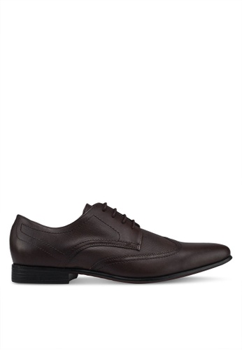 Burton Menswear London brown Brown Leather Formal Wingcap Shoes With Perforated Detailing D0D1BSH7D6C6C4GS_1