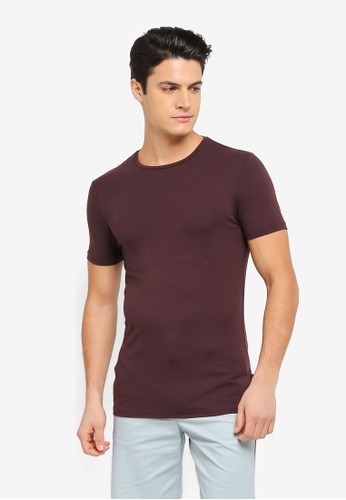 Burton Menswear London red Raisin Muscle Fit Crew Neck T-Shirt BU964AA0T1HJMY_1