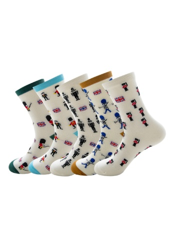 Kings Collection white Set of 5 Pairs British Flag Soldier Pattern Cozy Socks (HS202162) 66066AA3CDD541GS_1