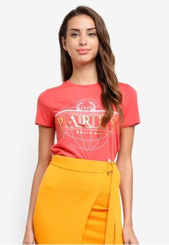 River Island red Red 'Paris' Foil Print T-shirt F665EAA85C4BB2GS_1