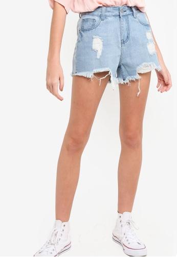 Something Borrowed blue Contrast Fabric Frayed Hem Denim Shorts 86F3FAADE1544EGS_1