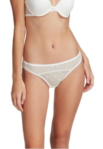 6IXTY8IGHT white Bing Solid, Dot Mesh Low-rise Bikini Briefs PT09686 98EABUS0BFD4FDGS_1