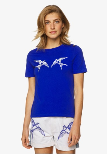 United Colors of Benetton blue Printed T-shirt 35E66AA94340A2GS_1