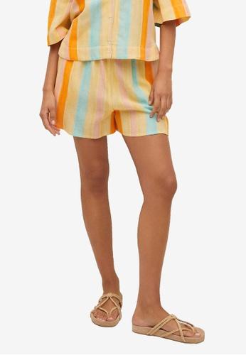 Mango yellow Cotton Striped Shorts F4161AAAAD9031GS_1