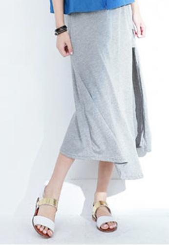 Sesura grey Side Slide Asymmetrical Maxi Skirt BD740AA7BA23B8GS_1