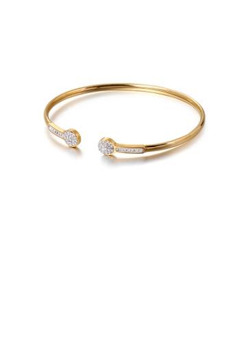 Glamorousky 白色 簡約個性鍍金色幾何圓形316L鋼手鐲配鋯石 953E9ACBE06887GS_1