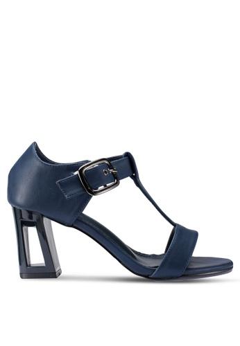 Berrybenka 藍色 T字帶粗跟鞋 A6D31SHF4C5E8AGS_1
