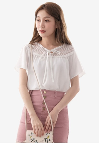 Eyescream white Lace Insert Ribbon Tie Blouse 555C2AA1F7883AGS_1