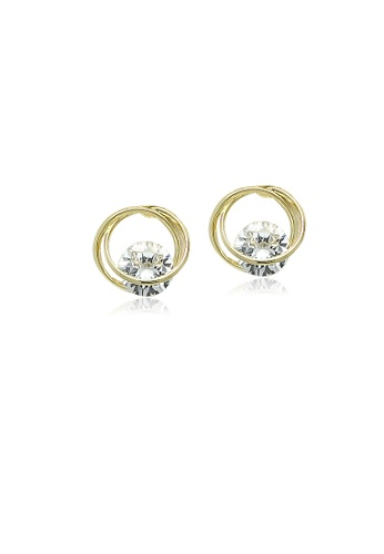 Chomel white and gold Cubic Zirconia Gold Stud Earrings 18C55AC800B37FGS_1