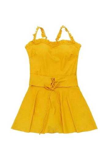 ZITIQUE yellow Women's Non-wired Ruffled One-piece Swimsuit - Yellow B1170US9C65C2CGS_1