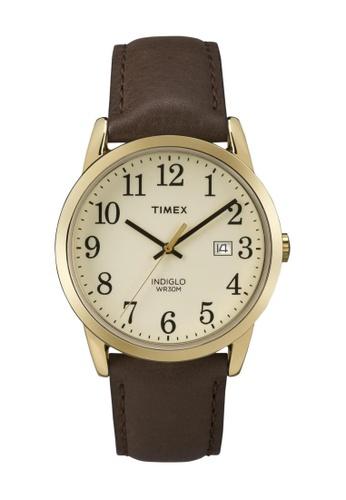 TIMEX brown Timex Easy Reader™ Brown Leather Strap Watch TI857AC48CPJSG_1