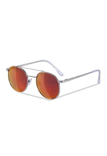 Sensolatino Eyewear black and brown and red and blue and silver Sensolatino Series Paro Silver Frame With Gold Red Polarized Mirrored Lenses D0025GLE1D7B54GS_1