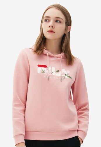 FILA pink Floral Embroidery FILA STILE ITALIANO Logo Hoodie CBDB8AA04D3C12GS_1