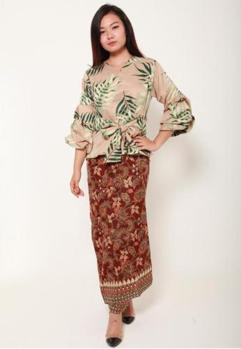 Naphthys Collection brown and red and multi Batik Skirt/Sarong 0B3E0AA48B8154GS_1