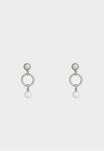 Pomelo silver Pearl Two Tone Drop Earrings - Silver 9A9AFACC35F630GS_1
