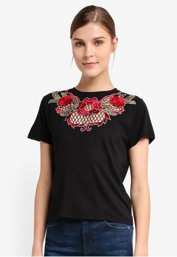 TOPSHOP black Net Rose Applique T-Shirt TO412AA0T0UTMY_1