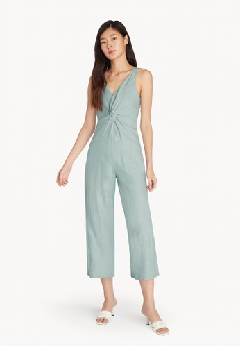 Pomelo blue Purpose Front Knot Sleeveless Jumpsuit - Mint 41C51AA4FD0AB5GS_1