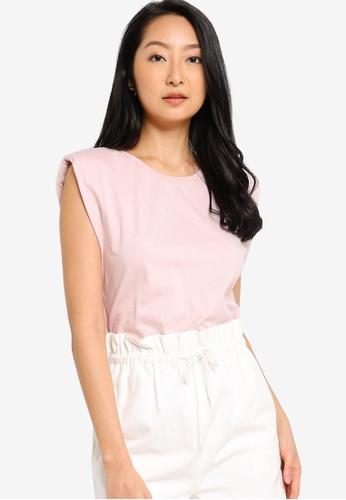 ZALORA BASICS 粉紅色 墊肩T恤 52936AA7323473GS_1