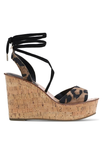 TOPSHOP brown White Ankle Tie Wedges TO412SH0RIAOMY_1
