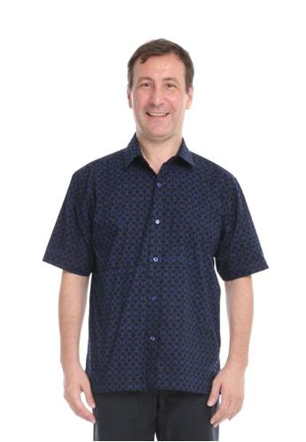 AYAYU black and blue AYAYU Batik Short Sleeves Men Shirt - GEOM Black Blue 90D3DAAD595D24GS_1