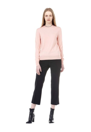 VOV(Voice of Voices) pink Light Pink Round Neck Ribbed Knit CF9CCAAC70B4FFGS_1