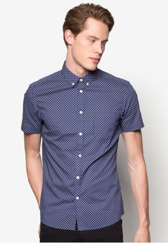 Short Sleeve Naesprit outlet 台灣vy Cross Print Shirt, 服飾, 襯衫