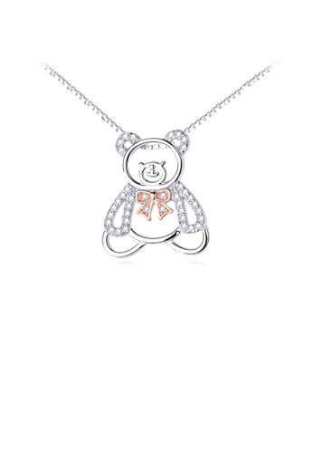 Glamorousky white 925 Sterling Silver Fashion Simple Bear Pendant with Cubic Zirconia and Necklace A88F8AC629DF5EGS_1