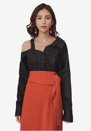 4e465a410492b Buy Kodz One Side Open Shoulder Long Sleeve Shirt Online on ZALORA Singapore