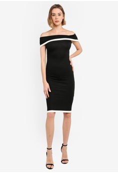 bcc3b62563 30% OFF Boohoo Contrast Off The Shoulder Midi Dress S$ 35.90 NOW S$ 25.13  Sizes 6 8 10 12 14