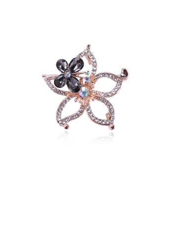 Glamorousky white Fashion and Elegant Plated Gold Hollow Flower Black Butterfly Brooch with Cubic Zirconia 27E86AC564CD63GS_1