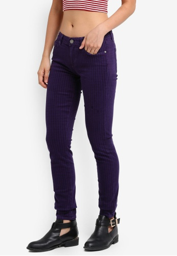 Paige purple Houndstooth Verdugo Ultra Skinny Jeans SO640AA0GOP2SG_1
