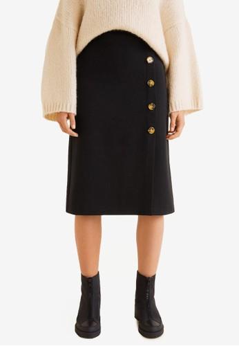 Mango black Buttoned Midi Skirt AE8A4AAB90BEDFGS_1