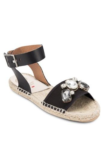 Zaogli 閃石寬帶繞踝麻編厚底涼鞋, 女鞋, esprit旗艦店鞋