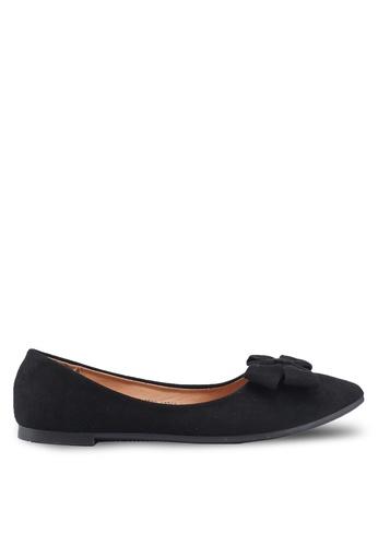 NOVENI black Bow Suede Flats D9FFESHB20126EGS_1