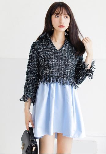 Shopsfashion black and blue Tweed Flare Dress SH656AA0GS6NSG_1