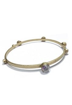 Kenneth Cole Gold Thin Bangle with Orbiting Crystals