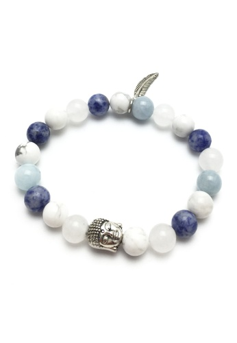 Memento Collection white and blue Buddha Mix Detailed Bracelet ME060AC97UFIMY_1
