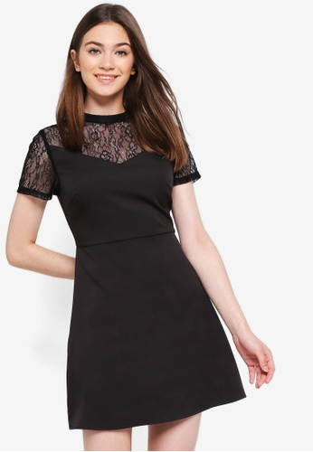 Something Borrowed black Lace Panel Fit And Flare Dress 1A36BAAA3EE79AGS_1