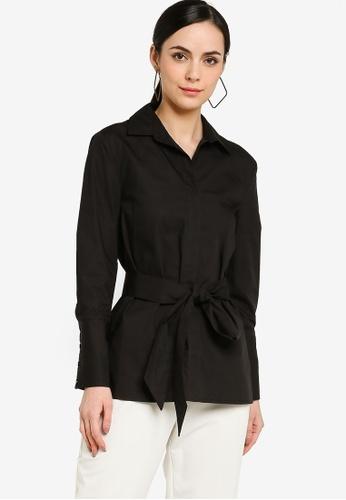 ZALORA WORK black Shirt Tunic With Self Tie 61677AADE96EFFGS_1