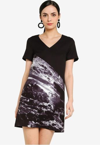 ZALORA WORK black and multi V Neck Shift Dress E2B28AA060C057GS_1