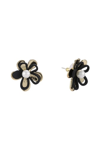 Red's Revenge black Traced Floral Premium Stud Earrings RE144AC0R9QLMY_1