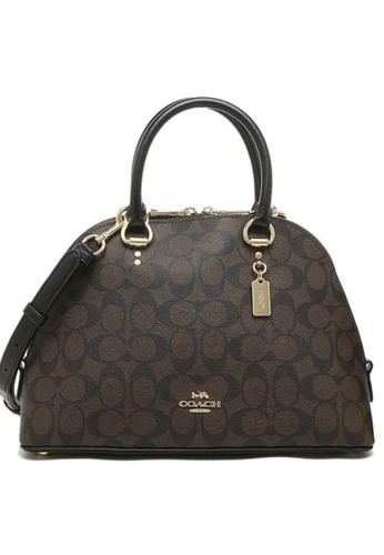 Coach black and brown Coach Katy Satchel In Signature Canvas 2558 Brown Black 4CF1FACC3BB308GS_1