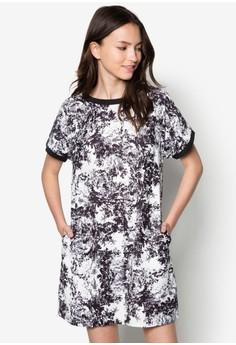 Love Contrast Printed T Shirt Dress