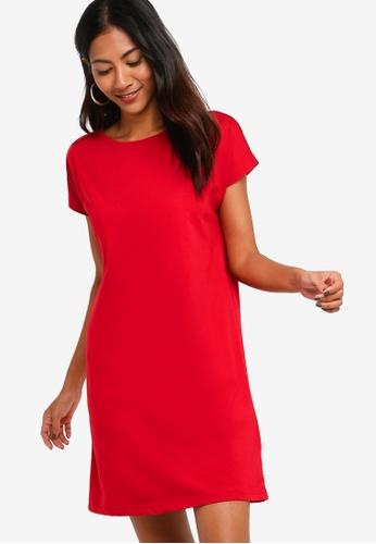 ZALORA BASICS red Basic Jersey T-Shirt Dress 42315AA2AD2287GS_1