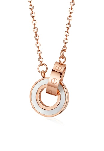 CELOVIS white and gold CELOVIS - Mabel Interlocking Mother of Pearl Necklace in Rose Gold EF3D0AC552AB1CGS_1