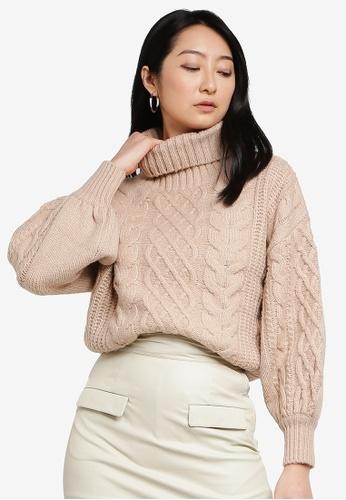 Heather beige Relaxed Knit Sweater B464DAA2E298A9GS_1