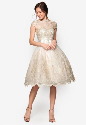 Frances 蕾絲鉤花傘擺洋裝、 服飾、 洋裝CHICHILONDONFrances蕾絲鉤花傘擺洋裝最新折價